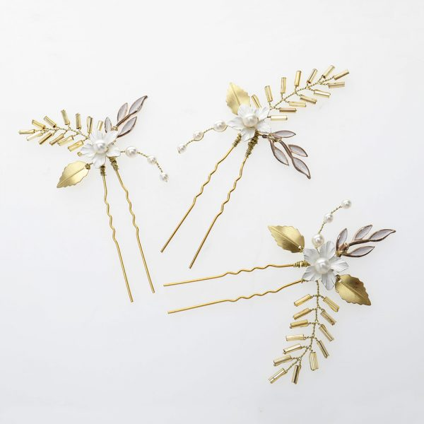 Oleander Bridal Hair Pins, Set of 3